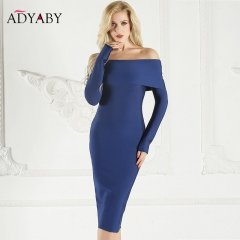 Long Sleeve Midi Dress Women Spring 2018 Fashion Elegant Celebrity Party Dress Bodycon Off Shoulder Ladies Dresses Slash Neck