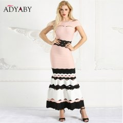 Women Mermaid Dresses Long Summer 2018 Off Shoulder Maxi Dress Bandage Ruffle Hollow Out Striped Slim Sexy Party Dress Woman