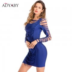 Fashion Bandage Dress Women Summer 2018 Sexy Bodycon Dress Blue Long Sleeve Hollow Out Club Wear Celebrity Party Dresses Womens