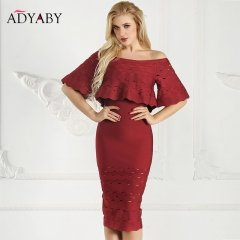 Half Sleeve Midi Dress Bandage Summer 2018 Fashion Off Shoulder Long Dress Red Party Ruffle Hollow Out Bodycon Dresses For Women
