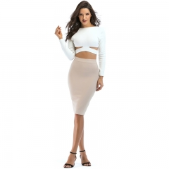 2 Piece Set Women 2018 Spring Summer New Fashion White Sexy Hollow Out Crop Tops and High Waist Bodycon Skirts Two Piece Set