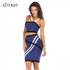 Sexy Women Two Piece Set For Summer 2018 Fashion Bodycon Crop Top And Skirt Set Strapless Striped Blue Evening Party Women's Set