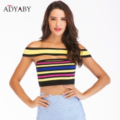 Bralette Crop Top For Women Summer 2018 New Arrivals Fashion Sexy Bandage Bodycon Tops Sleeveless Ladies Rainbow Color Crop Tops