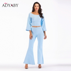Two Piece Set Women 2018 Fashion Autumn Flare Long Sleeve Tops And Flare Trousers Ladies Celebrity High Waist Pants 2 Piece Set