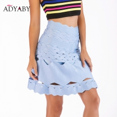 A Line Blue Skirts Women Fashion 2018 Sexy High Waist Hollow Out Mini Skirts Ladies Streetwear Club Festival Party Elegant Skirt