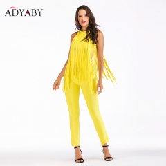 Yellow Sexy Bandage Jumpsuits For Women 2018 New Fashion Sleeveless Bodycon Rompers With Tassel Womens Jumpsuit Ladies Long Pant