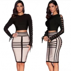 Sexy Party Club bag hip cross with sexy suit Skirt Women 2 Piece Set Bodysuit And Skirt Spring 2018 Bodycon Bandage Dress Long Sleeve
