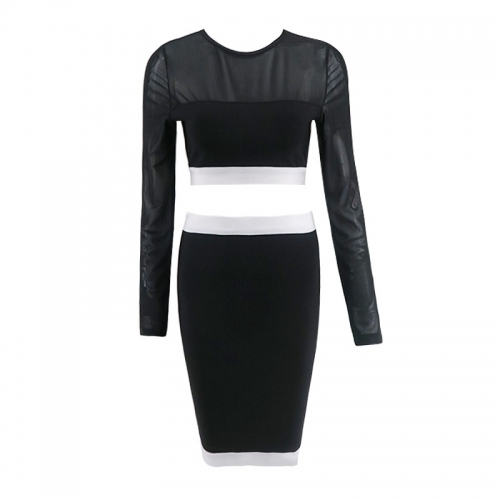 2018 Factory price fashion long sleeve two piece sexy bandage women cocktail party dress