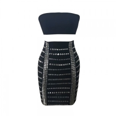 2018 Latest design studded two pieces sexy women black cocktail  dresses