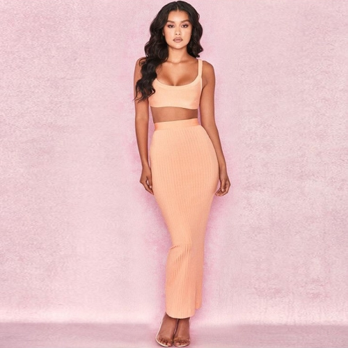 2018 New Arrival  Wholesales Price Sexy Backless Sleeveless Gallus Top+ long skirt Bandage two  set