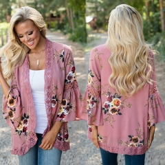 2018 New Design European and American hollow lace stitching digital printing cardigan sunscreen clothing foreign trade beach blouse