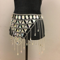 2018 summer new nightclub gemstone hollow chain skirt