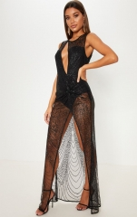 Sexy sleeveless Backless See Through Sequins Bodycon Evening Party Clubwear Maxi Romper Sequins Dress Ne
