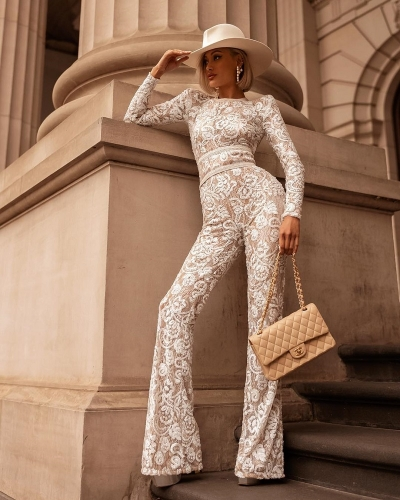 2019  New Vintage White Lace High Neck Long Pants Bandage Jumpsuits