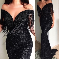 2019 Summer Sexy Women Halter Tassel Backless Bodycon Party Off Shoulder Dress