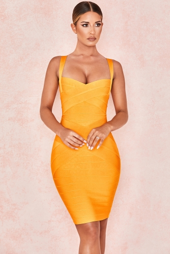 Orange Striped Short Length Women Bodycon Bandage Dress Sexy Spaghetti Strap Bandage Wholesale 2019