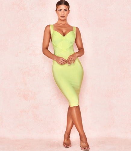 Pale Lime Cross Bust Bandage Dress Knee Length New Style Rayon Bandage dresses wholesale
